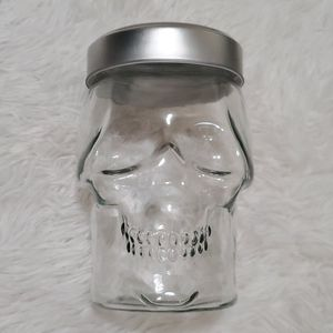 Glass skull jar with lid